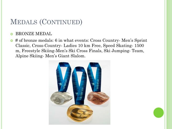 Medals (Continued)
