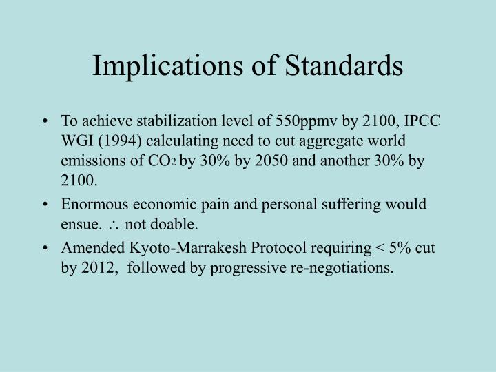Implications of Standards