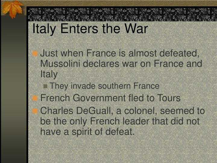 Italy Enters the War
