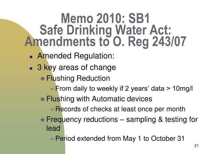 Memo 2010: SB1