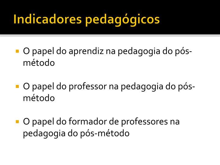 Indicadores pedagógicos