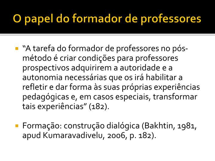 O papel do formador de professores