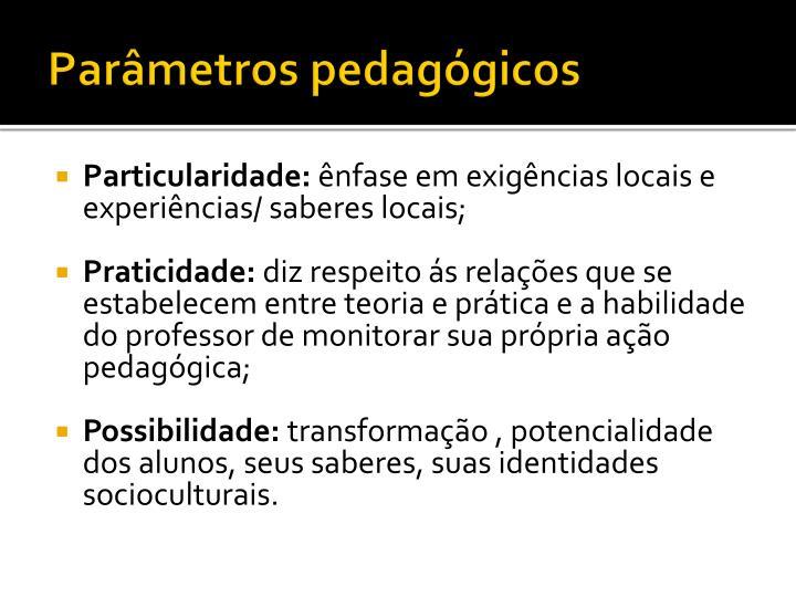 Parâmetros pedagógicos