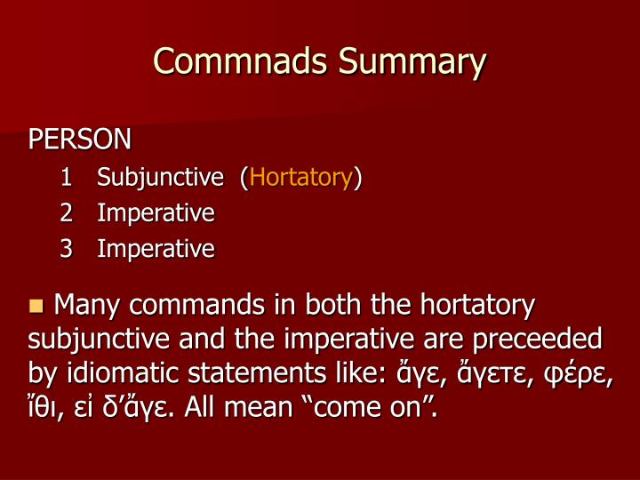 Commnads Summary