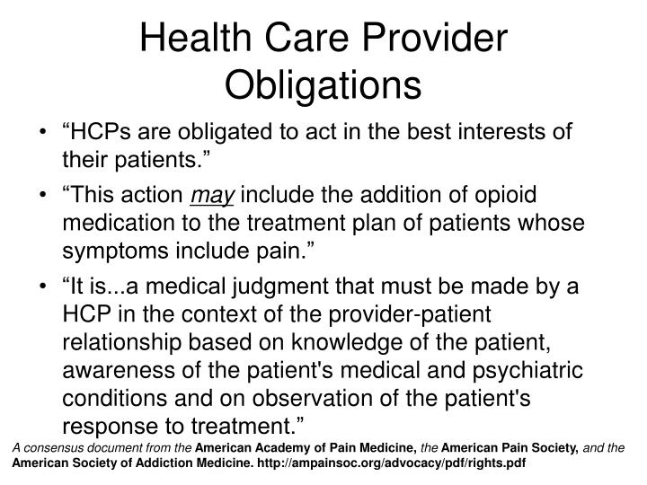 Health Care Provider Obligations