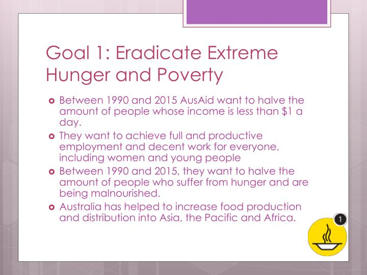 Goal 1 eradicate extreme hunger and poverty