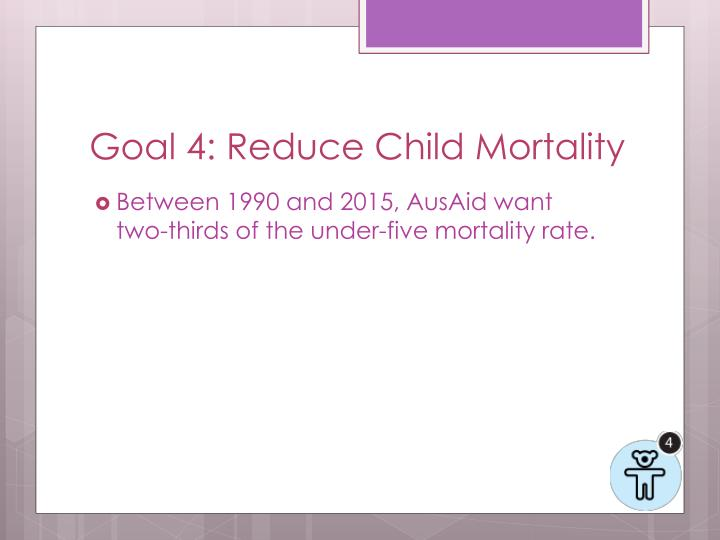 Goal 4: Reduce Child Mortality