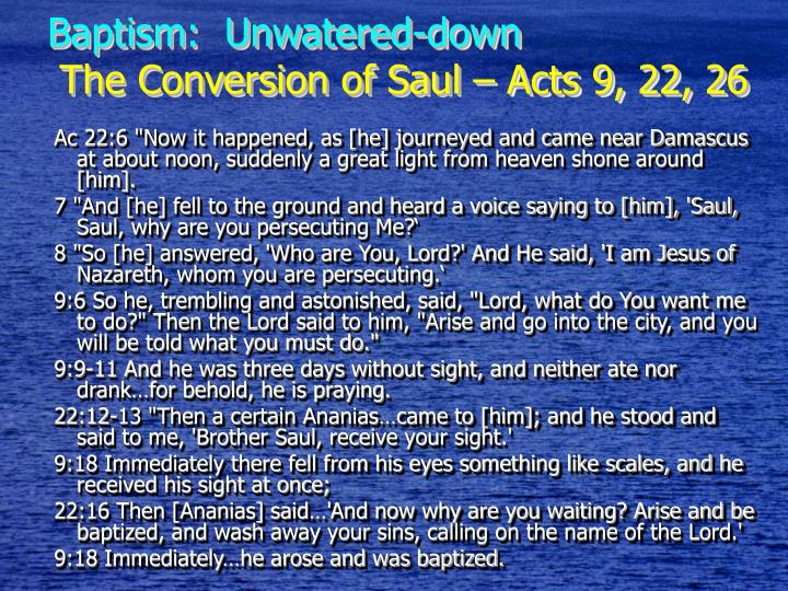 Baptism:  Unwatered-down