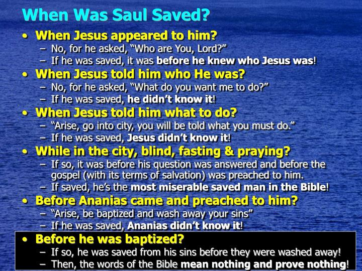 When Was Saul Saved?