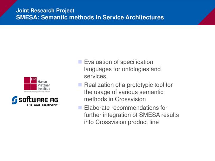 Joint research project smesa semantic methods in service architectures