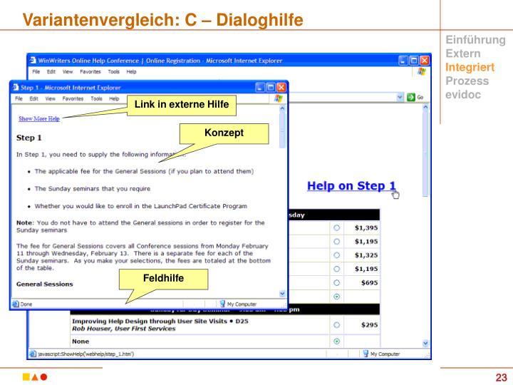Variantenvergleich: C – Dialoghilfe