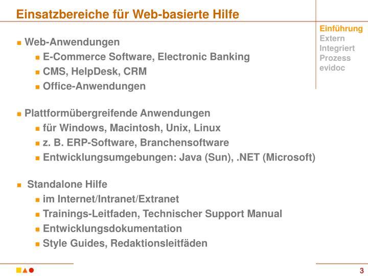 Einsatzbereiche für Web-basierte Hilfe