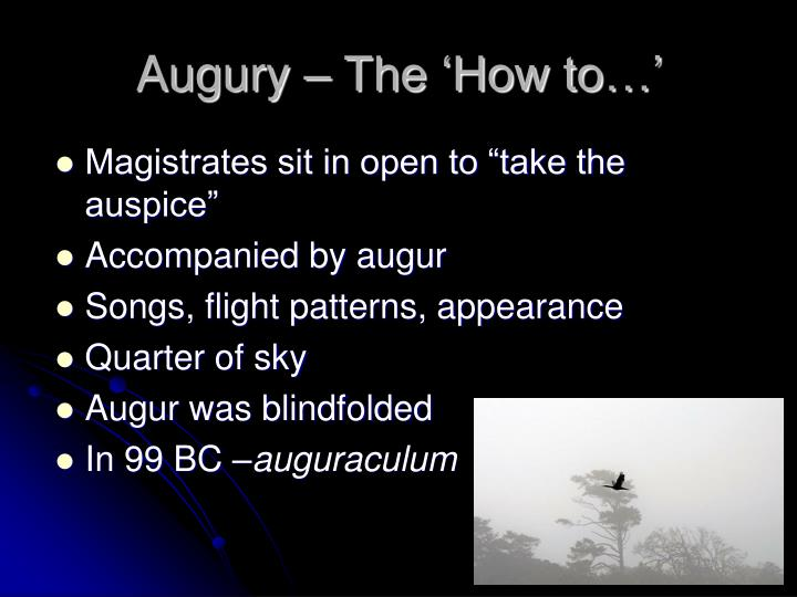 Augury – The 'How to…'