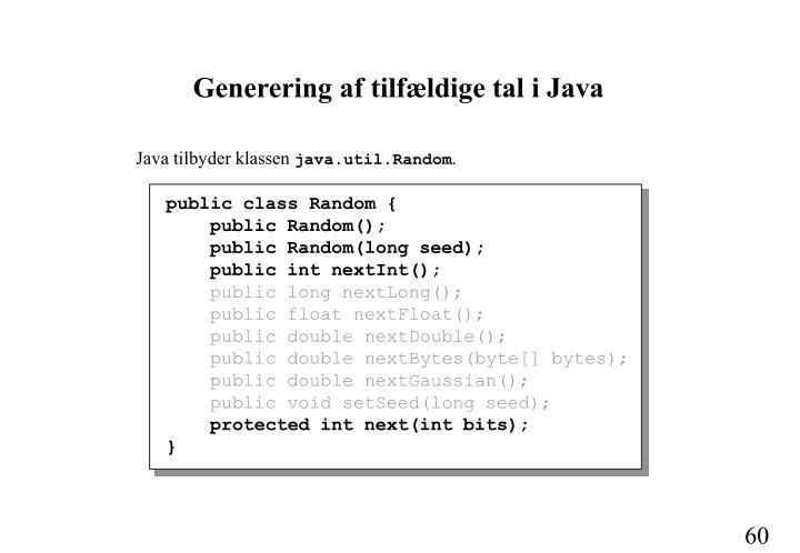 Generering af tilfældige tal i Java