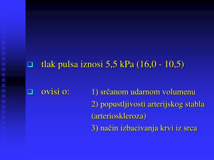 tlak pulsa iznosi 5,5 kPa (16,0 - 10,5)