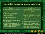 how did soviet society become more open