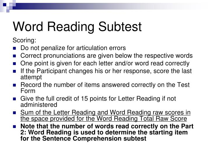 Word Reading Subtest