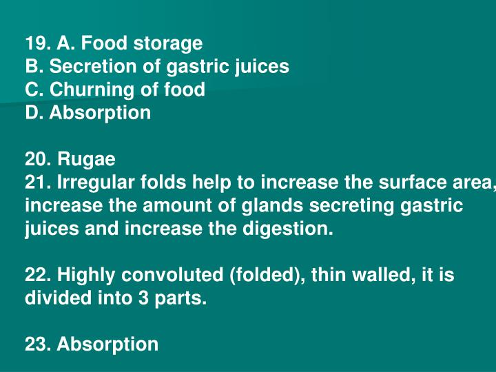 19. A. Food storage