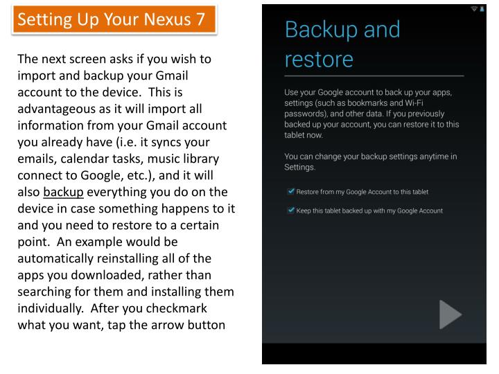 Setting Up Your Nexus 7