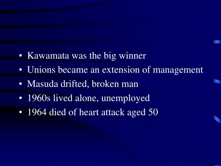 Kawamata was the big winner