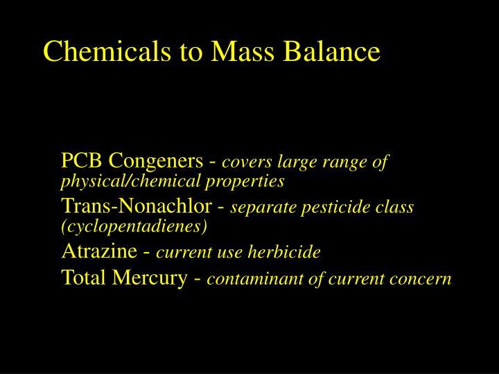 Chemicals to Mass Balance