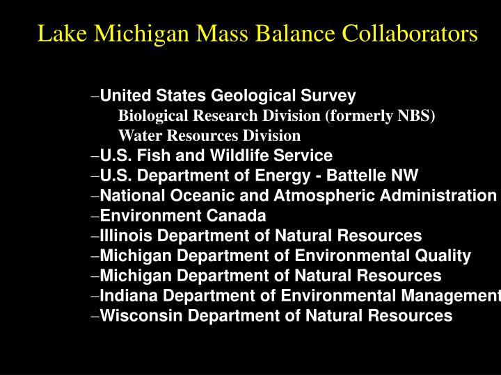 Lake Michigan Mass Balance Collaborators