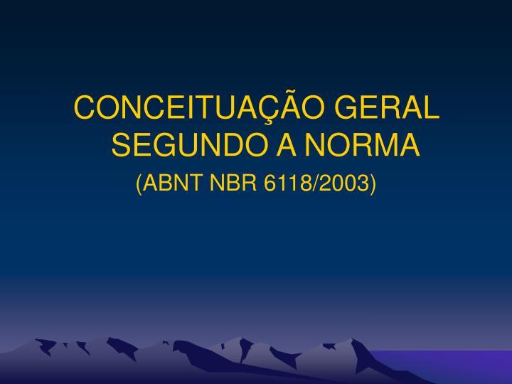 CONCEITUAÇÃO GERAL SEGUNDO A NORMA