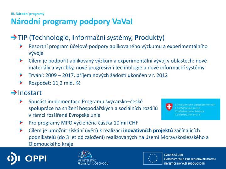 III. Národní programy