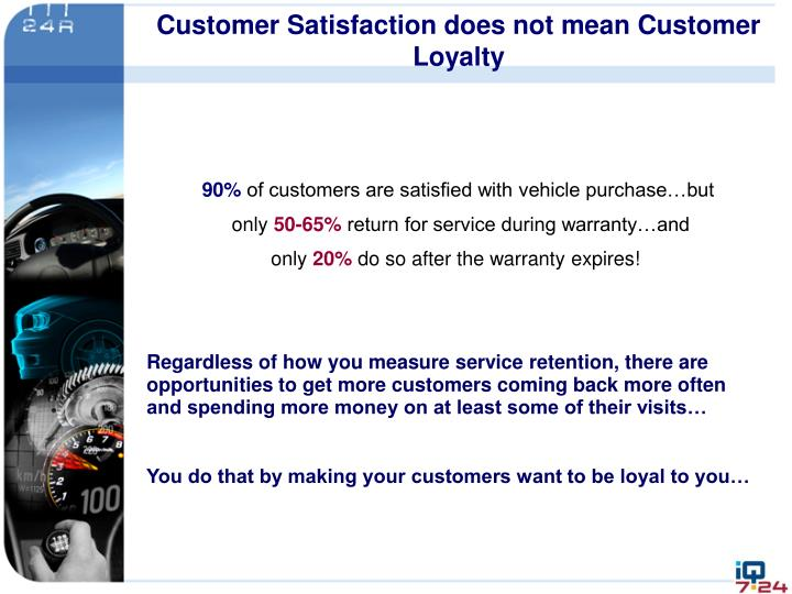 Customer Satisfaction does not mean Customer Loyalty