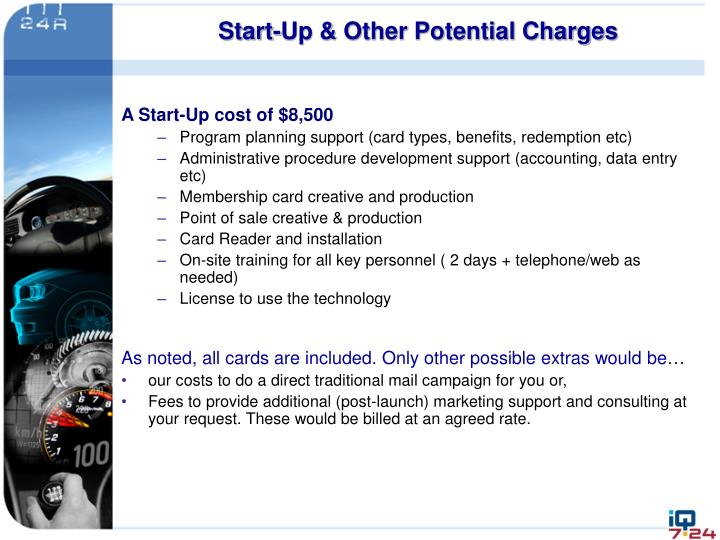 Start-Up & Other Potential Charges