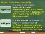theme teens times and books