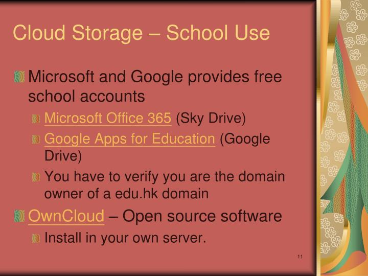 Cloud Storage – School Use