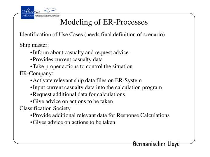 Modeling of ER-Processes
