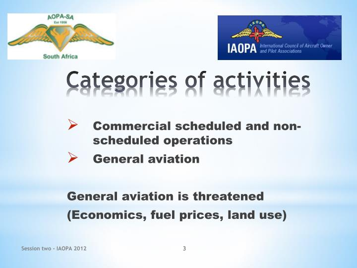 Commercial scheduled and non-scheduled operations