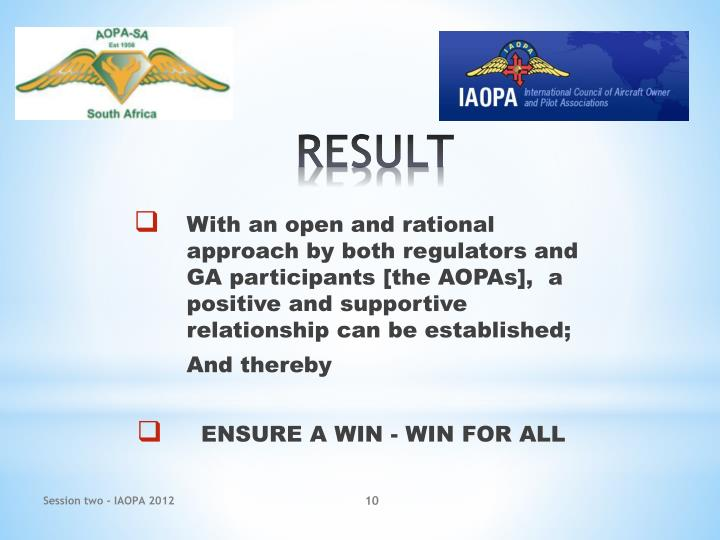 With an open and rational approach by both regulators and GA participants [the AOPAs],  a positive and supportive relationship can be established;