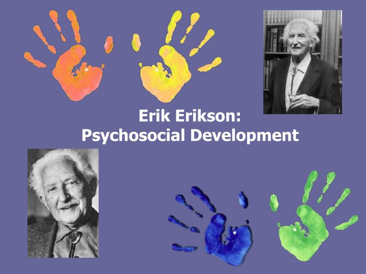 "psycho social development according erik erikson According to erikson, the socialization process consists of eight phases – the "" eight  each stage is regarded by erikson as a ""psychosocial crisis,"" which  arises."