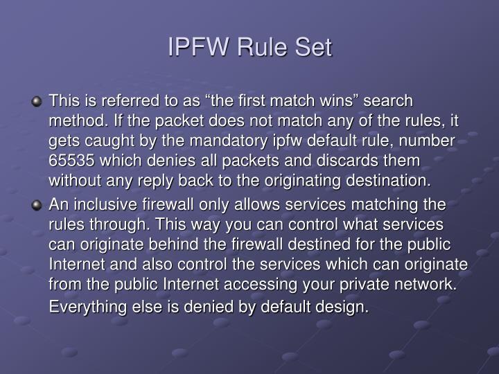 IPFW Rule Set
