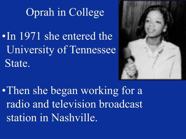 Oprah in College