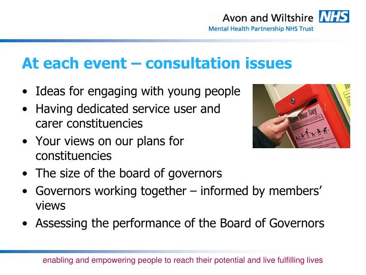 At each event – consultation issues