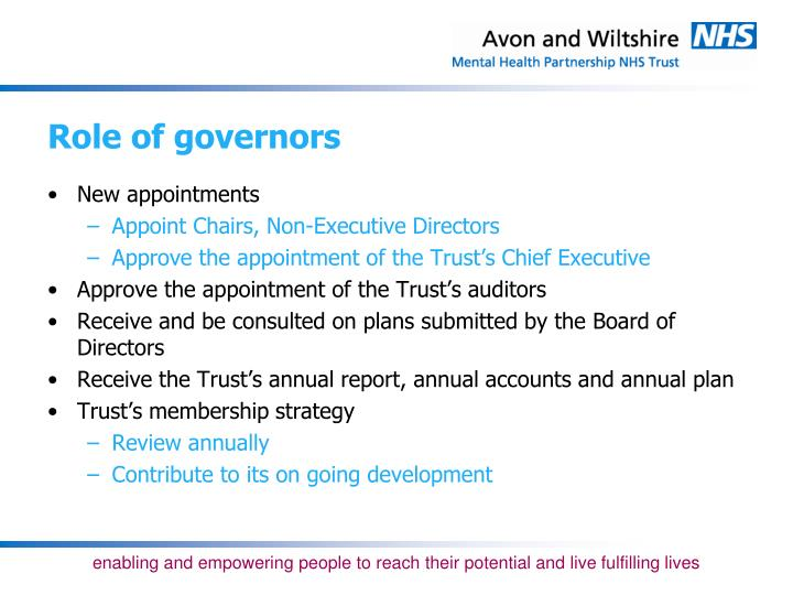 Role of governors