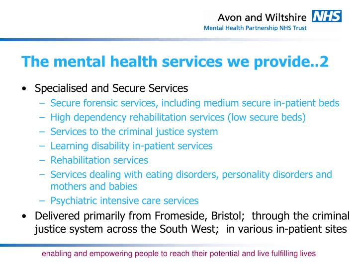 The mental health services we provide..2