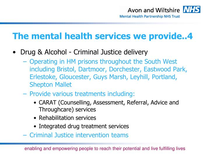 The mental health services we provide..4