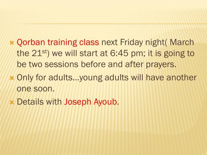 Qorban training class