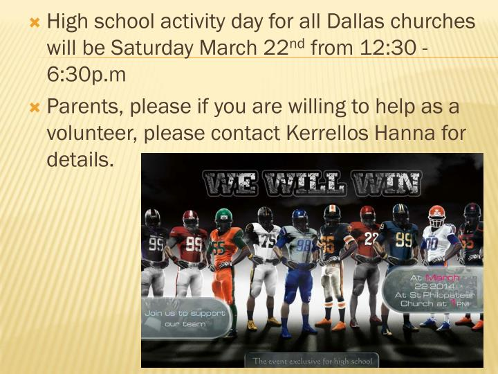 High school activity day for all Dallas churches will be Saturday March 22
