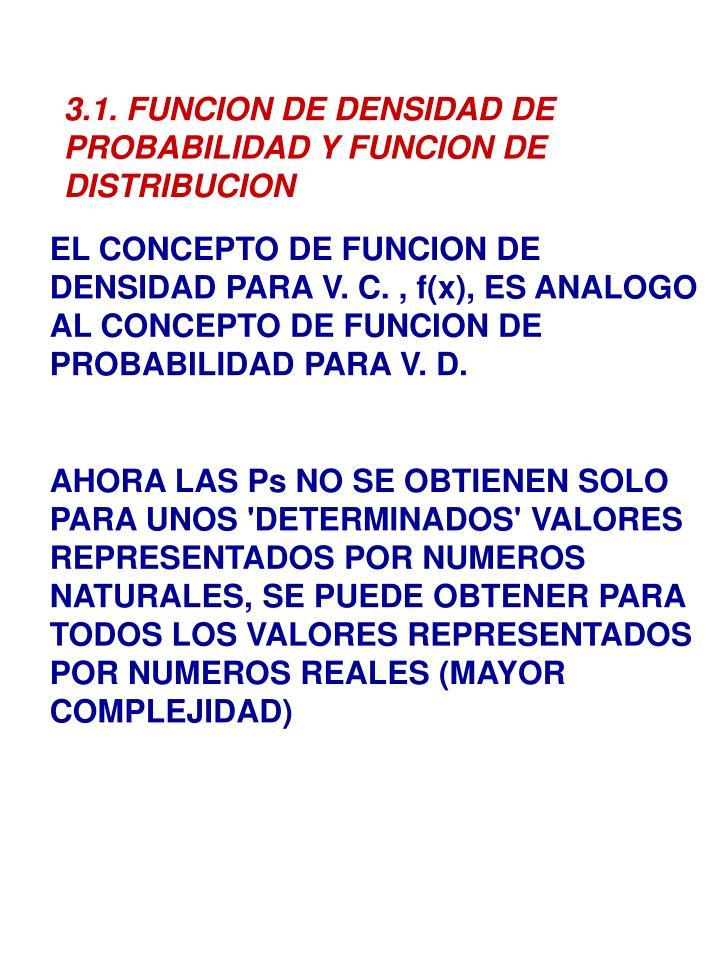 3.1. FUNCION DE DENSIDAD DE PROBABILIDAD Y FUNCION DE DISTRIBUCION