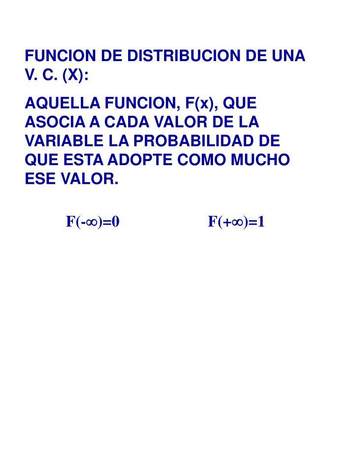 FUNCION DE DISTRIBUCION DE UNA V. C. (X):