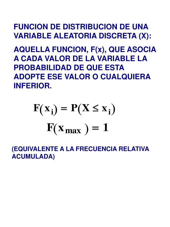 FUNCION DE DISTRIBUCION DE UNA VARIABLE ALEATORIA DISCRETA (X):