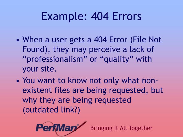 Example: 404 Errors