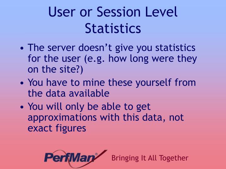 User or Session Level Statistics