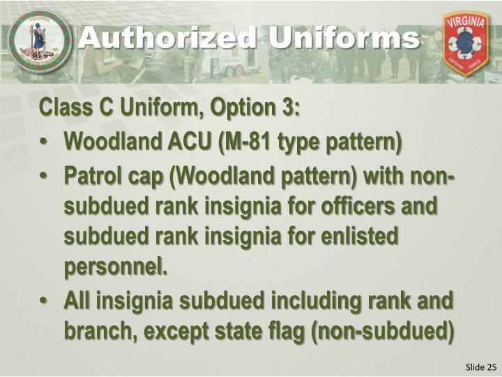 Authorized Uniforms